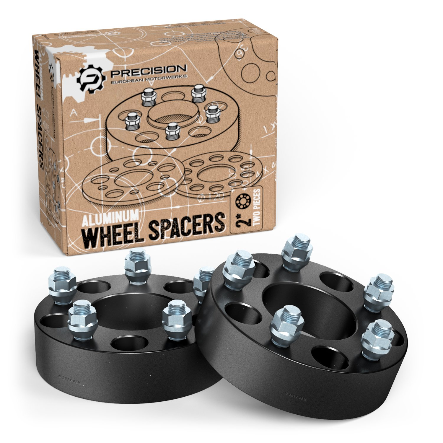 2pc 2.5' Thick 5x4.75 Hubcentric Wheel Spacers No Lip (12x1.5 Studs) for Chevy Blazer Camaro Corvette S10 GMC S15 Jimmy Pontiac Trans Am Firebird Cadillac XLR Silver 5x120.65 Precision European Motorwerks