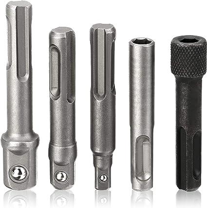 Screwdriver Holder Adaptor SDS Drill Bit Tool 5 Pcs 1//4 3//8 1//2 Hex Shanks
