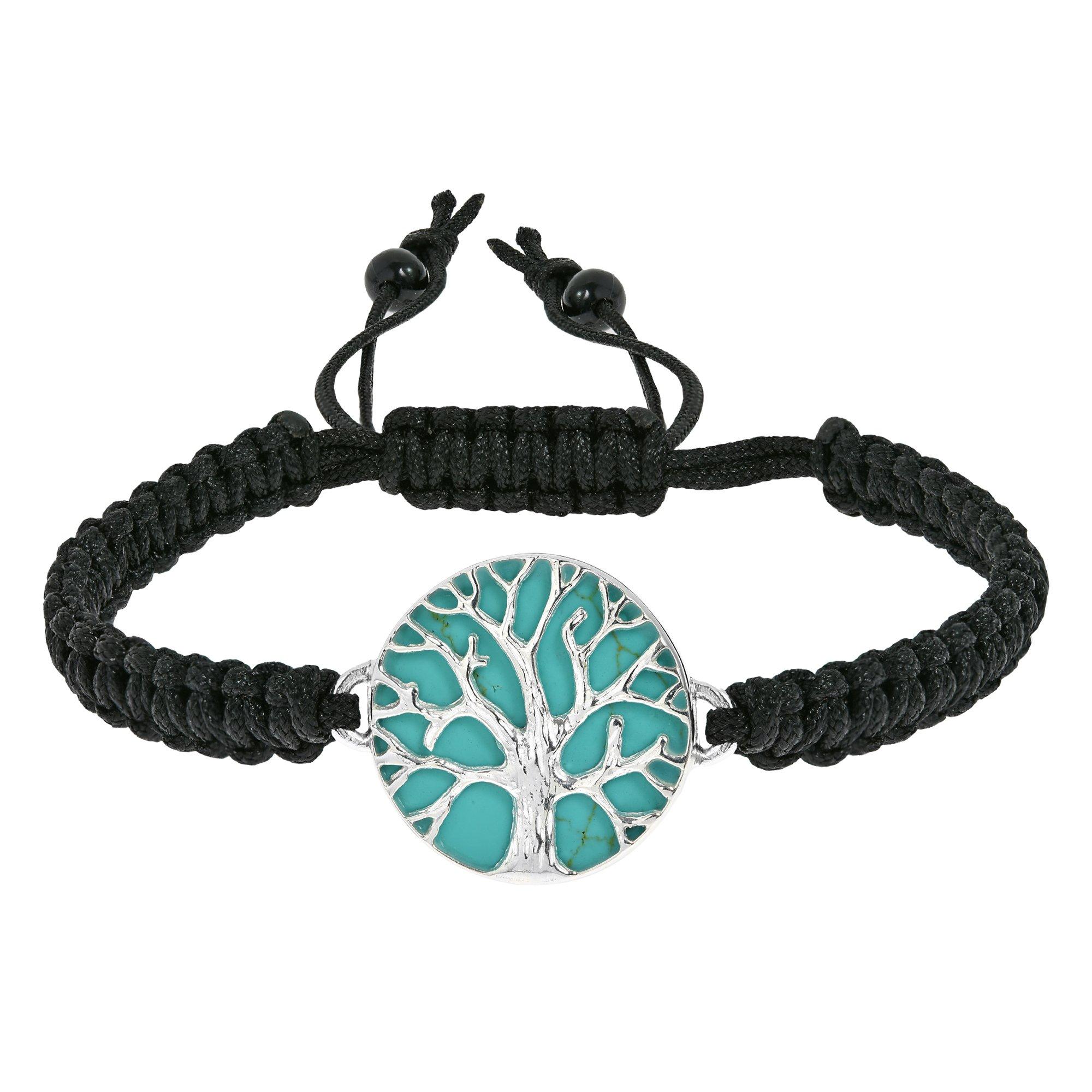 AeraVida Mystical Tree of Life Simulated Turquoise Inlay Adjustable Wrist Pull Bracelet