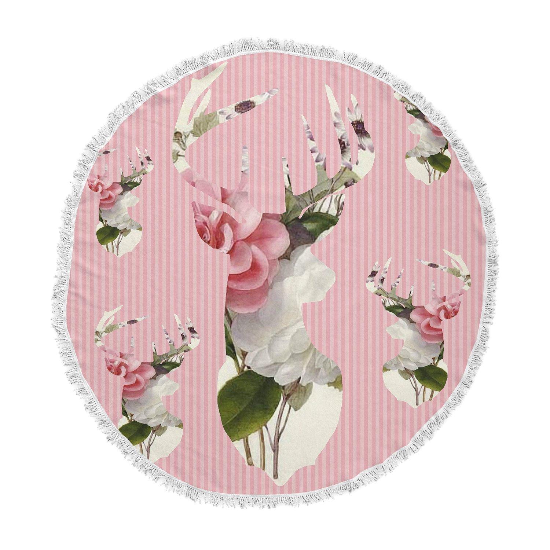 Kess InHouse Suzanne Carter Floral Deer Pink White Round Beach Towel Blanket