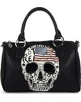 styleBREAKER Bowling Bag mit USA Design Totenkopf und schwarzem Strass, Handtasche, Damen 02012051