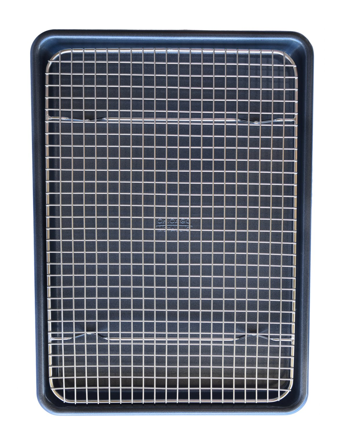 "KITCHENATICS Professional Grade Stainless Steel Cooling and Roasting Wire Rack Fits Half Sheet Baking Pan for Cookies, Cakes Oven-Safe for Cooking, Smoking, Grilling, Drying - Heavy Duty Rust-Proof 6 COMMERCIAL GRADE 304 (18/8) STAINLESS STEEL cooling rack, RUST RESISTANT, NONTOXIC and DISHWASHER_SAFE for long-lasting durability. SUPREME DURABILITY with 1-INCH (1"") IN HEIGHT for optimal airflow, allows air to circulate around all sides of the pan for absolutely perfect cooking and cooling. OVEN-SAFE to 575˚F for effective roasting, and best for grilling, baking, broiling, smoking, bbq and drying. There is no need to flip your food while cooking. You will get a crisp and juicy chicken, bacon, turkey, pulled pork, bbq ribs and other meat and vegetable dishes without any sweating."