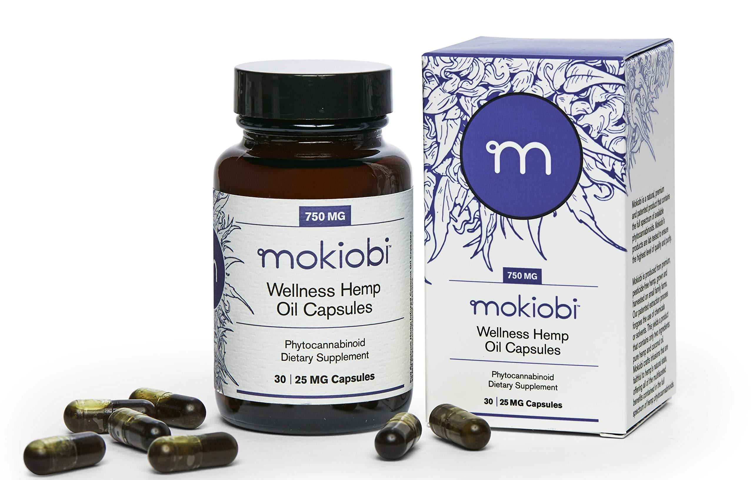 Mokiobi Whole Hemp Plant Infused Coconut Oil Wellness Capsules 750mg (30 Count, 25mg Capsules) by Mokiobi