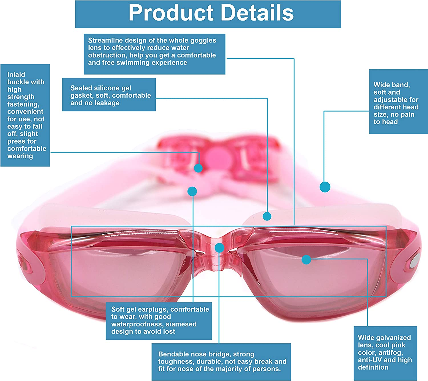 0 to -800 Hersvin Nearsighted Swimming Goggles Myopic Shortsighted UV400 Anti-UV Anti-fog Goggles with Integral Earplugs Removable Nose Bridge for Adult Men Women Children