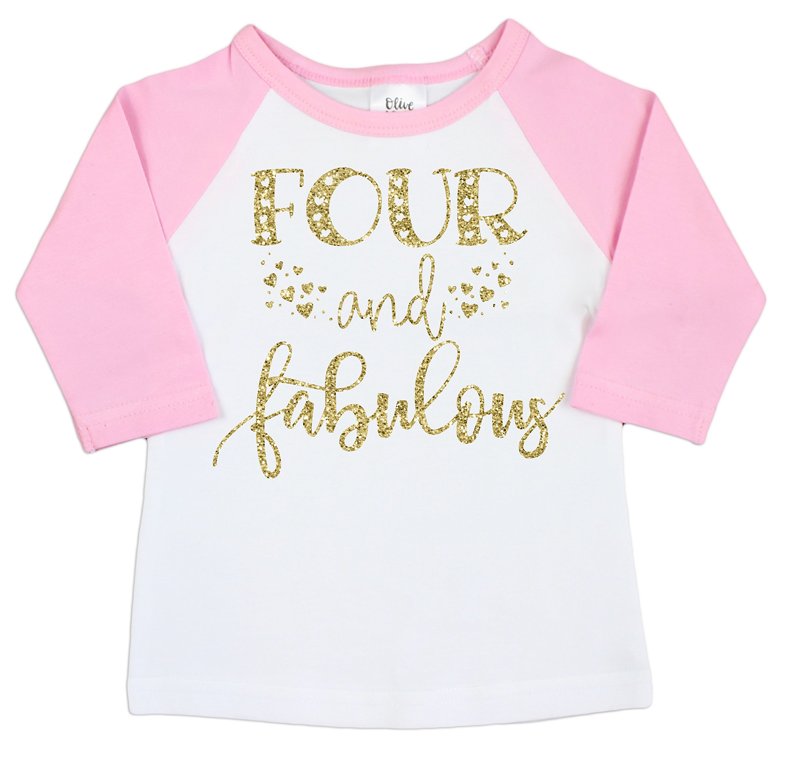 Olive Loves Apple Four and Fabulous 4th Birthday Shirt Girl Fourth Birthday Shirt for Girls Glitter Gold