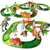HOMCENT Dinosaur Race Track Car Toy Set for 3 4 5 6 7 8+ Years Old Boys and Girls, 270 Pieces with Dino Car, Tank and Dinosau