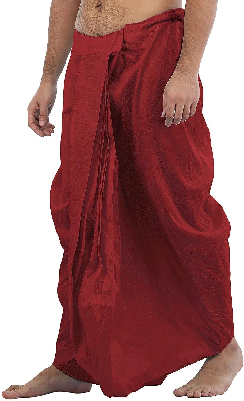 Maenner-Dhoti-Dupion-Silk-Plain-handgefertigt-fuer-Pooja-Casual-Hochzeit-Wear Indexbild 28