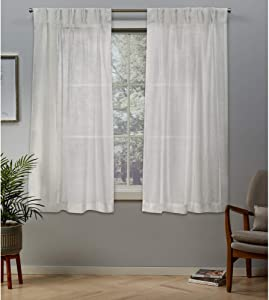 """Exclusive Home Curtains Belgian Textured Linen Look Jacquard Sheer Pinch Pleat Curtain Panel Pair, 63"""" Length, Snowflake"""