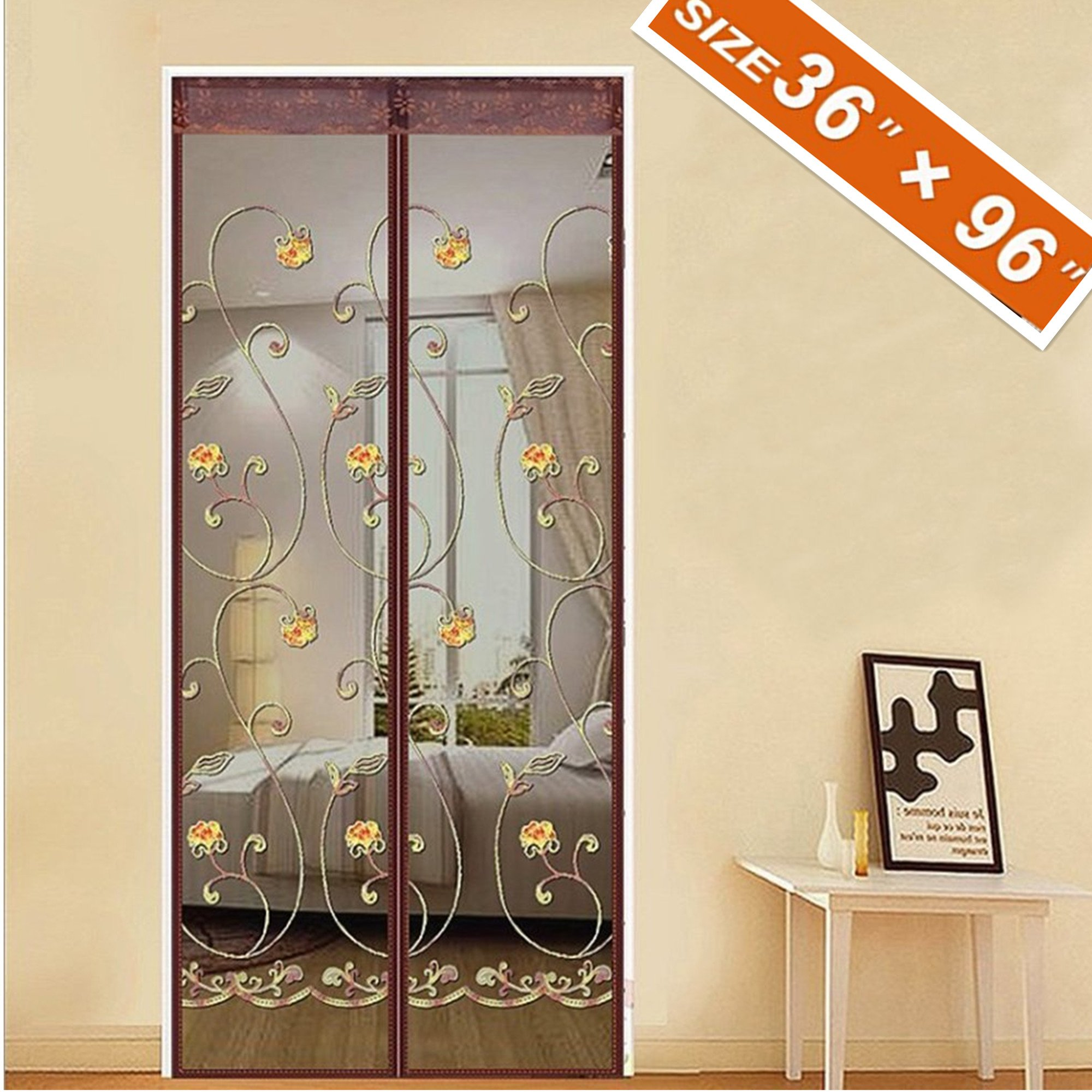 """Spritech Magnetic Screen Door 36 x 96, Mosquito Patio Screens Magic Door Mesh 36 X 96 Fit Doors Size Up to 34""""W X 95""""H Max with Full Frame Velcro French Back Door Curtain Keep Fly Bug Out"""