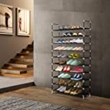 Herron Shoe Rack, Durable And Stable Shoe Tower, 10 Tiers 50 Pairs Shoe Organizer - Quick and Easy to Assemblely - Black
