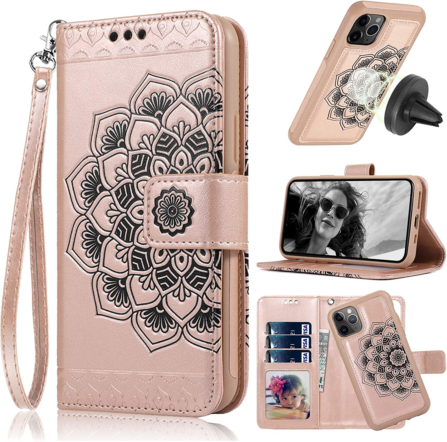 CASEOWL iPhone 11 Pro Max Case Wallet with Magnetic Detachable Slim Case Fit Car Mount,Card Holder,Kick Stand,RFID Protection,Strap,Mandala Embossed Leather Wallet Case for iPhone 11 Pro Max,Rose Gold
