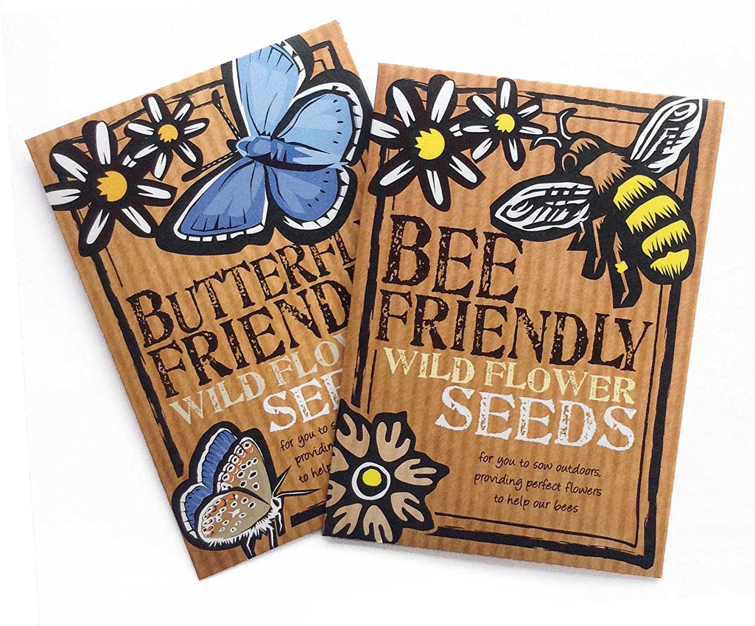 Bee and Butterfly Friendly Wild Flower Seeds Duo Pack - Beautiful Flowers in Many Colours, Great Gardener Gift. Over 1000 Seeds Per Packet, RHS Perfect for Pollinators Mix. Friendly Seed Company
