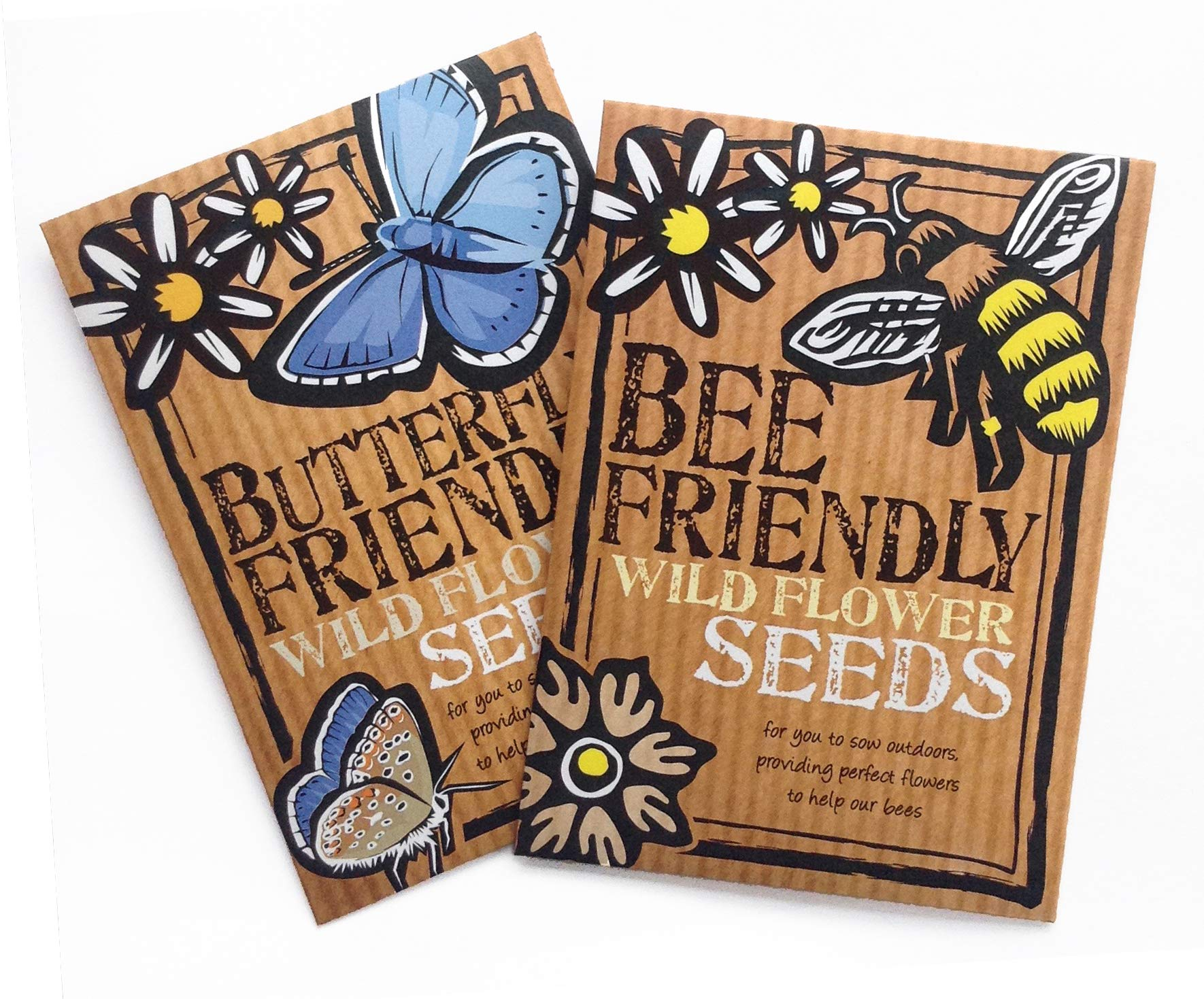 Bee and Butterfly Friendly Wild Flower Seeds Duo Pack - Great Gardener Gift. Beautiful, Colourful Native British Wild Flowers. UK Grown. RHS Plants for Pollinators Mix.