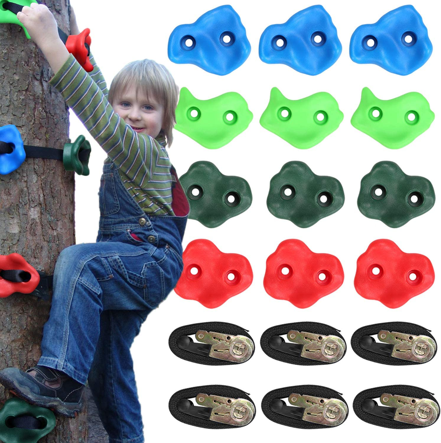 Odoland Ninja Tree Climbers, 12 Kids Rock Climbing Holds with 6 Sturdy Ratchets Straps for Outdoor Ninja Warrior Obstacle Course Training for Child and Adult: Sports & Outdoors