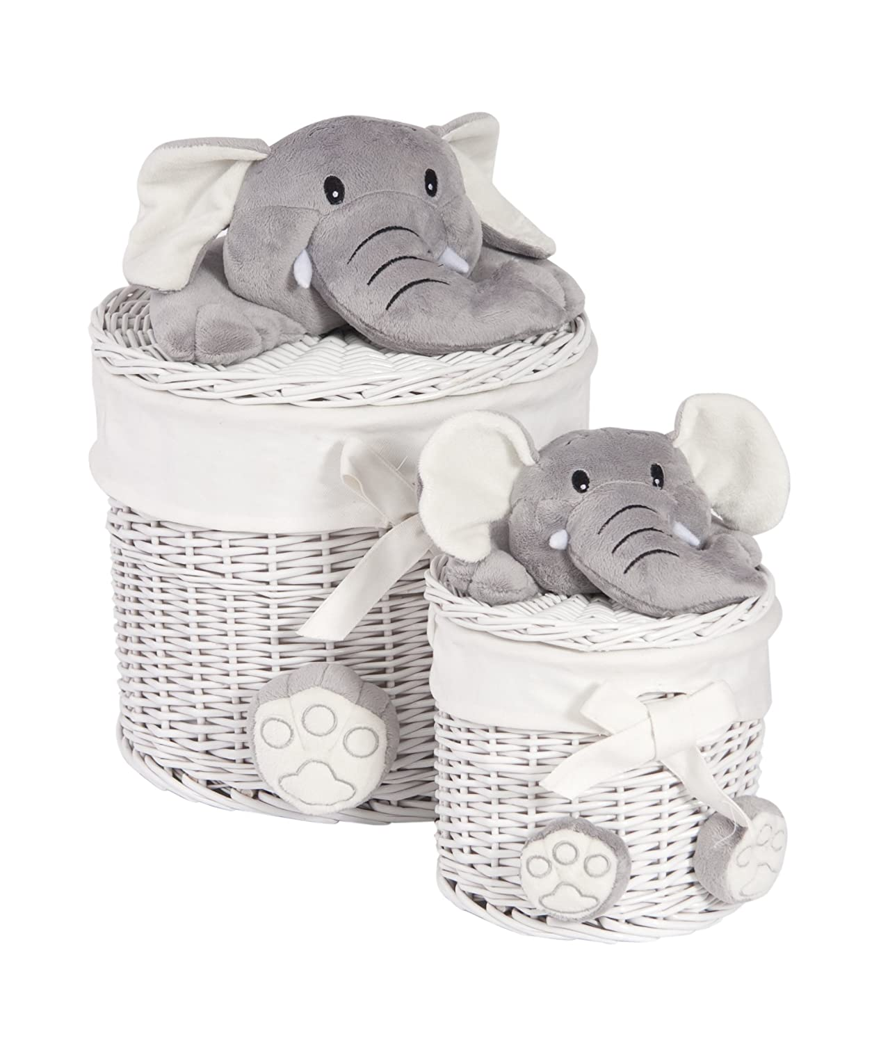 Twin Laundry Baskets Elephant Faces Cotton Lined: Amazon: Kitchen &  Home