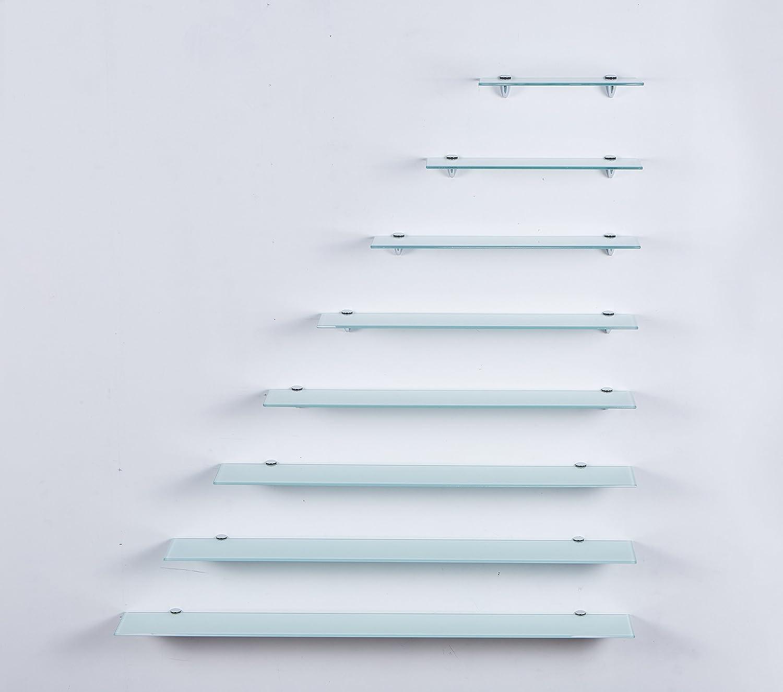 Euro de Vidrio Estante estanterí a de Pared –  Color Blanco, 6 mm Cristal de Seguridad, Estante de Cristal, estantes de Cristal, Estante de Cristal de Suelo con Soporte 6mm Cristal de Seguridad Euro Tische