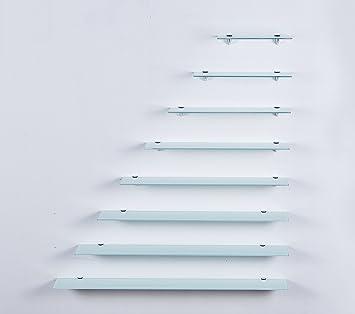 Euro Tische Glas Wandregal Weiß - Glasregal mit 6mm ESG Sicherheitsglas -  perfekt geeignet als Badablage/Glasablage für Badezimmer - Verschiedene ...