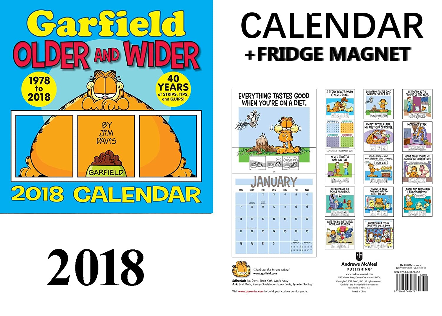 Garfield calendario 2018 + Celebrity imán para nevera: Amazon.es ...