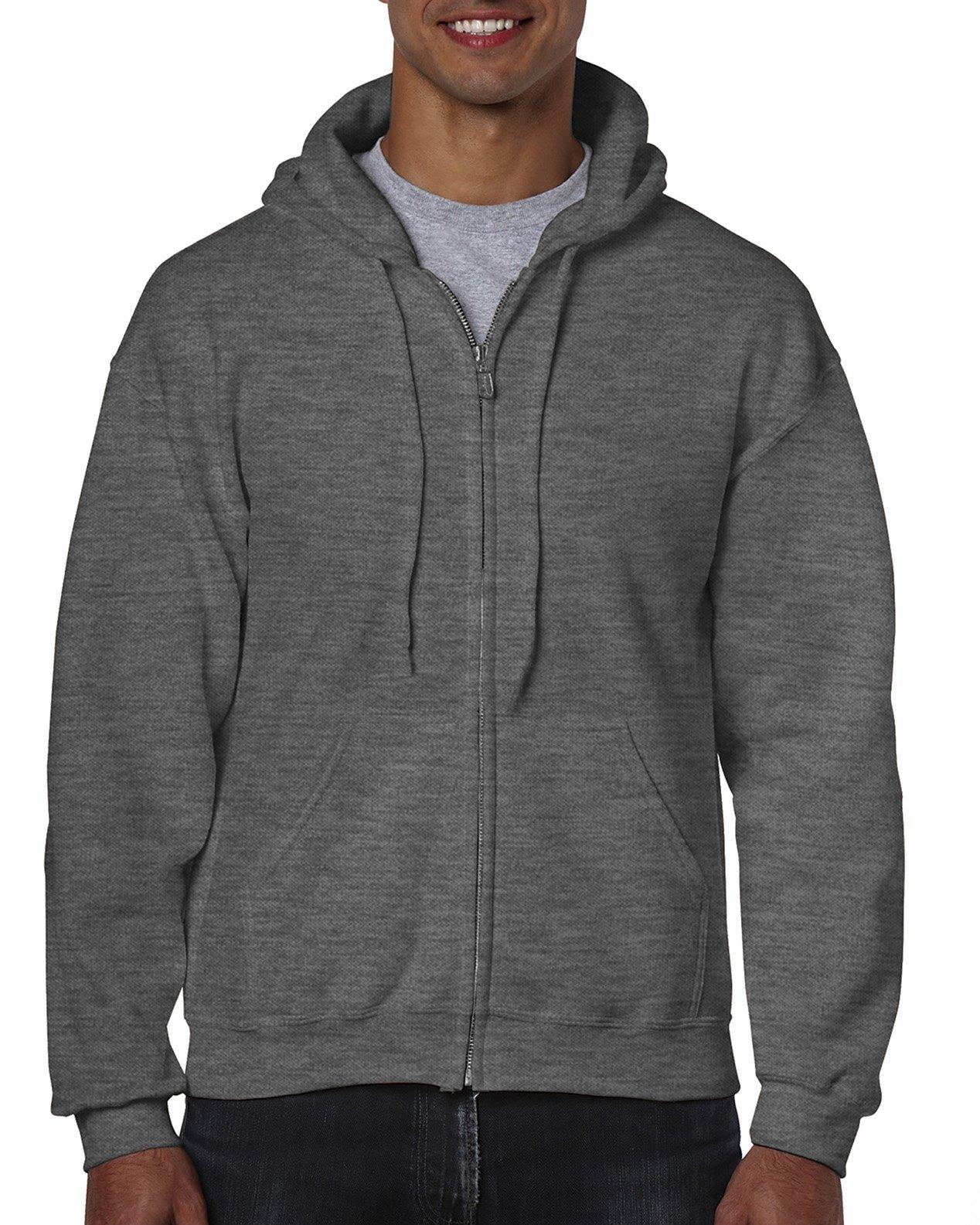 Gildan Men's Fleece Zip Hooded Sweatshirt Dark Heather Large by Gildan