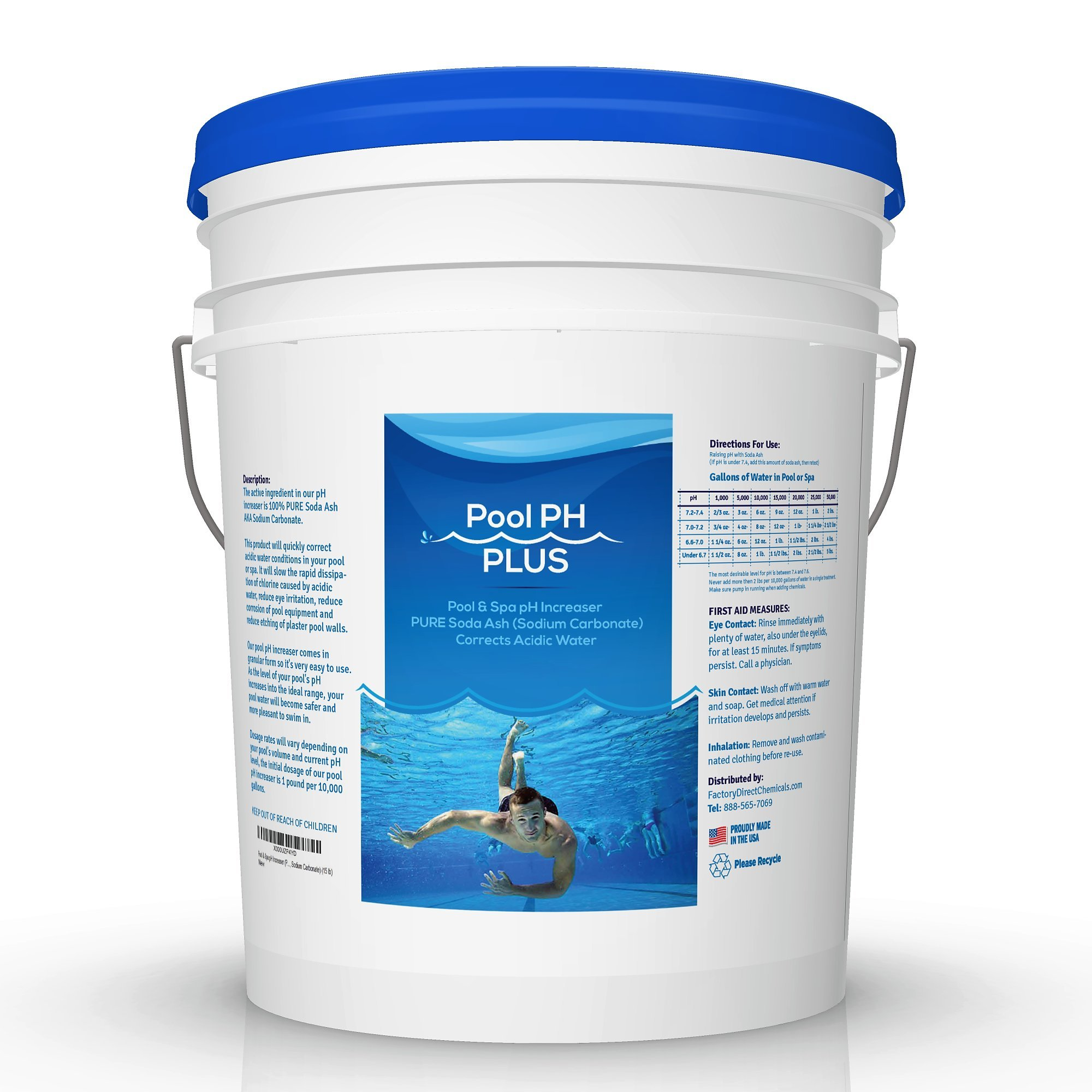 Pool & Spa pH Increaser (Pure Soda Ash, Sodium Carbonate) (15 lb) by FDC