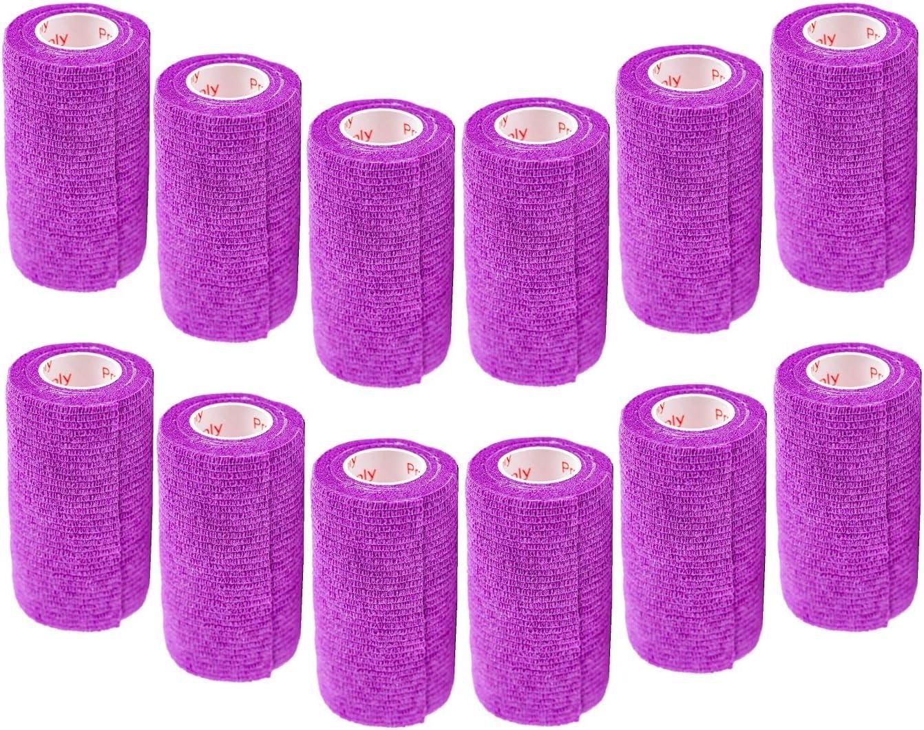 4 Inch Vet Wrap Tape Bulk (Assorted Colors) (6, 12, 18, or 24 Packs) Self-Adhesive Self Adherent Adhering Flex Bandage Rap Grip Roll for Dog Cat Pet Horse 81bg0hxLZZL