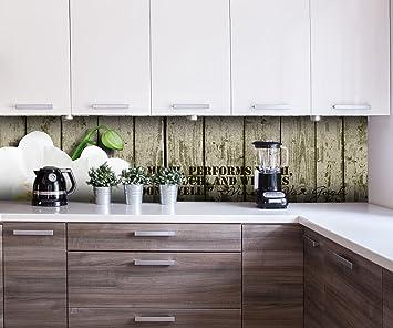 Rückwand Küche Holz | Kuchenruckwand Holz Zaun Weisse Orchidee Nischenruckwand Spritzschutz