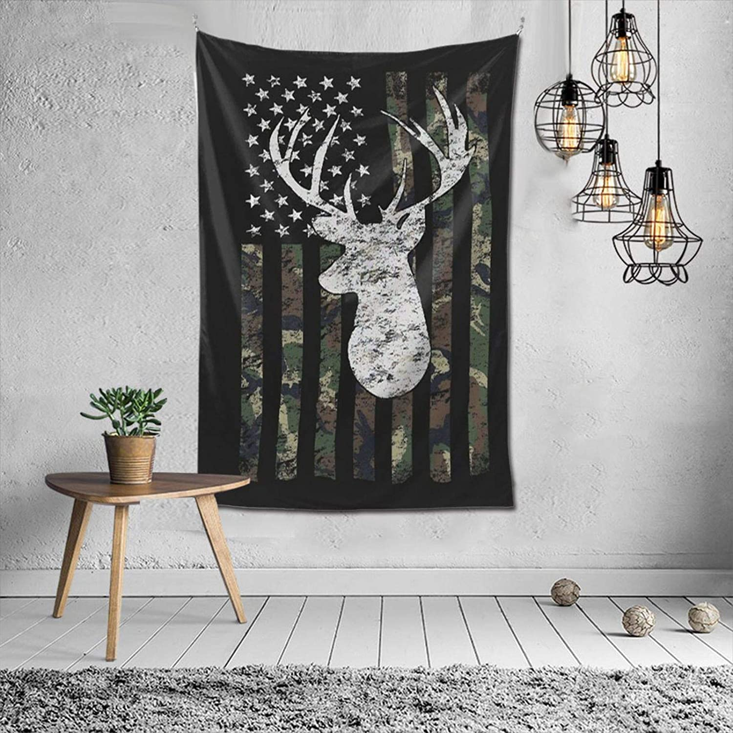 NiYoung Tapestry Wall Hanging Decorative Arts Wall Tapestry for Living Room, Bedroom, College Dorm, Soft Picnic Backdrop Blanket Deer Camo Camouflage American Flag Hunting Black Tapestry