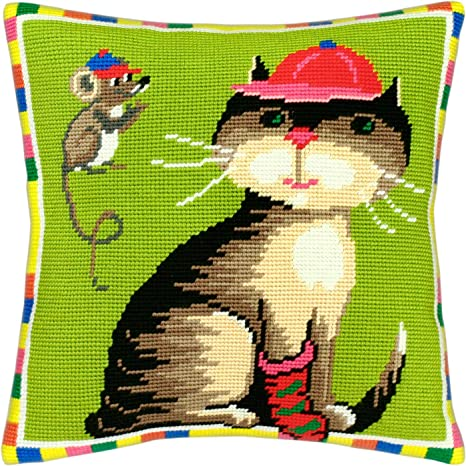 Printed Tapestry Canvas Throw Pillow 16/×16 Inches European Quality Cat of Art Nouveau Cross Stitch Kit