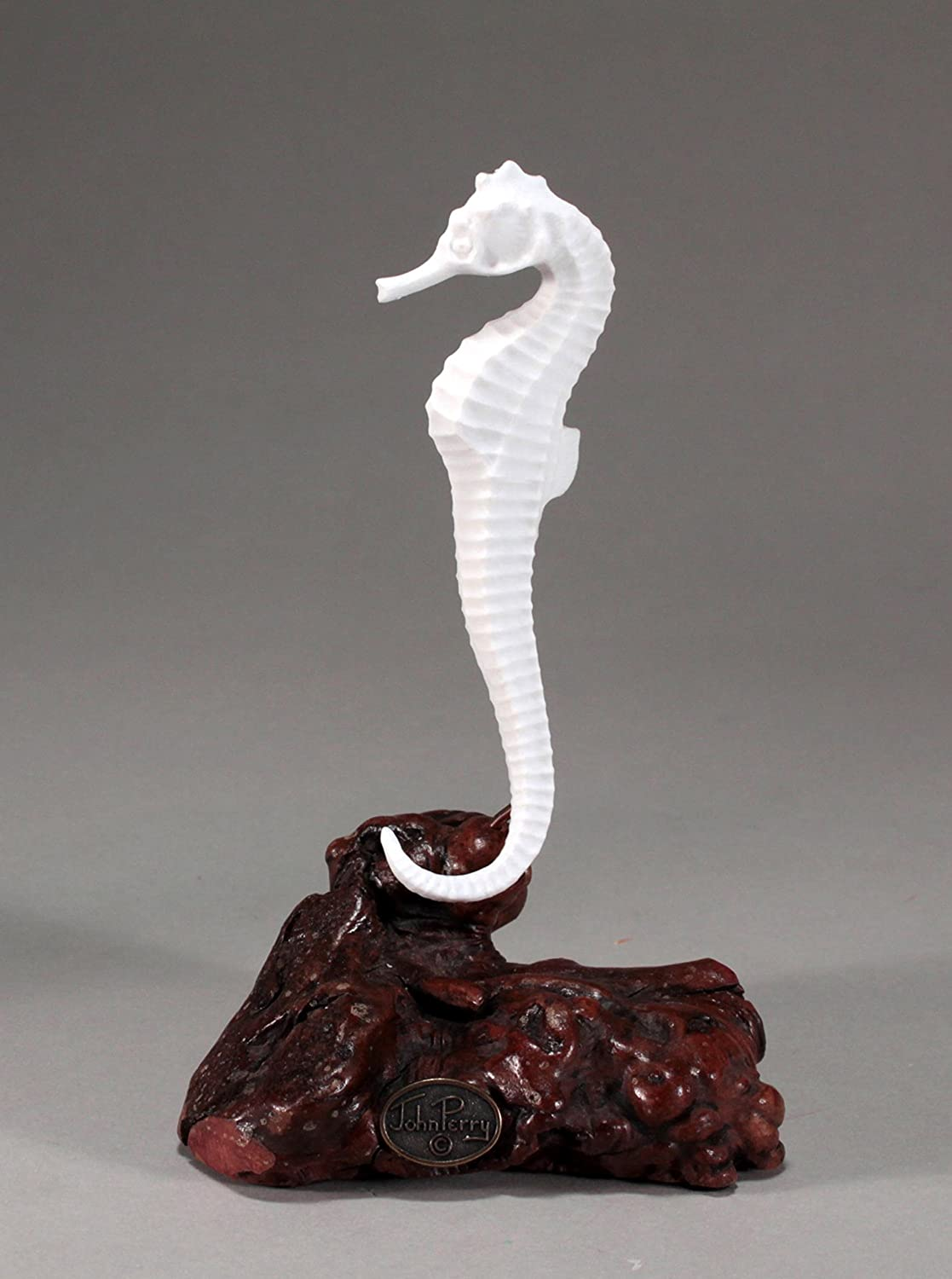 Seahorse Sculpture by John Perry Pellucida on Burl Wood Statue 5in Long