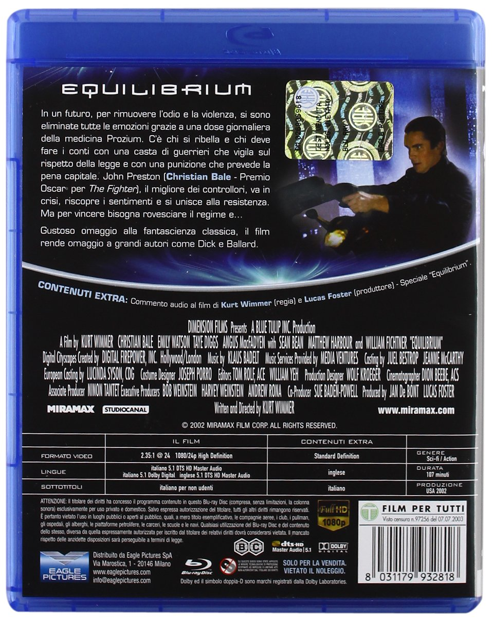 Equilibrium [Italia] [Blu-ray]: Amazon.es: Klaus Badelt, Christian Bale, Sean Bean, Taye Diggs, William Fichtner, Angus Macfadyen, Sean Pertwee, ...
