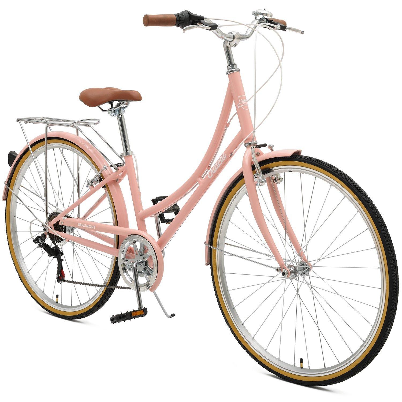 Blush pink Retrospec Ladies Commuter Bike.