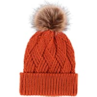aa97c89a051 TAUT Adorable Faux Fur Pom Criss Cross Cable Knit Beanie Hat - Assorted  Colors