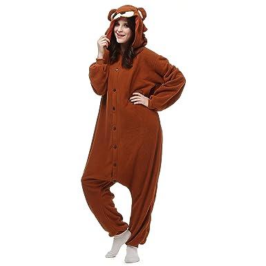 b23f8b83ec Amazon.com  Kigurumi Bear Onesie Adult Pajamas Christmas Costume Animal  Brown  Clothing