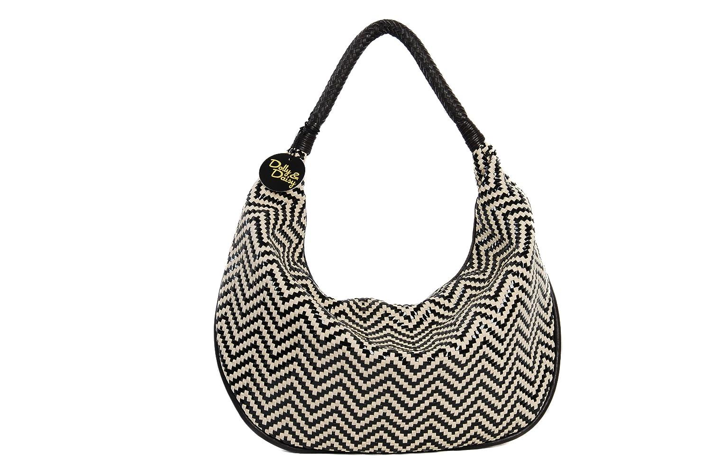 Cream and black large shoulder handbag tote bag basket weave effect Frida design by Dolly & Daisy