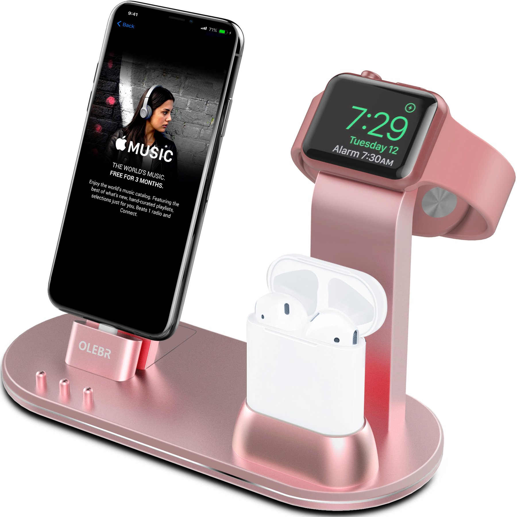 OLEBR Apple Watch Stand Apple Watch Charging Stand AirPods Stand Charging Docks for Apple Watch Series 3/2/1/ AirPods/iPhone X/8/8Plus/7/7 Plus /6S /6S Plus/iPad-Rose Gold