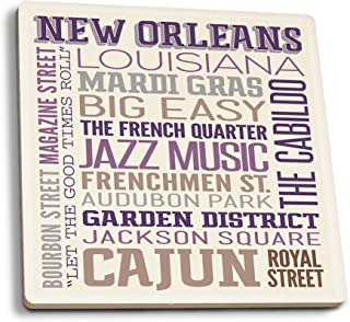 product image for Lantern Press New Orleans, Louisiana - Typography (Set of 4 Ceramic Coasters - Cork-Backed, Absorbent)