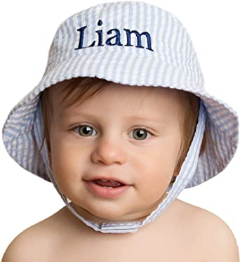 8fd64114634 Melondipity Blue   White Seersucker Personalized Baby   Toddler Sun Hat ...