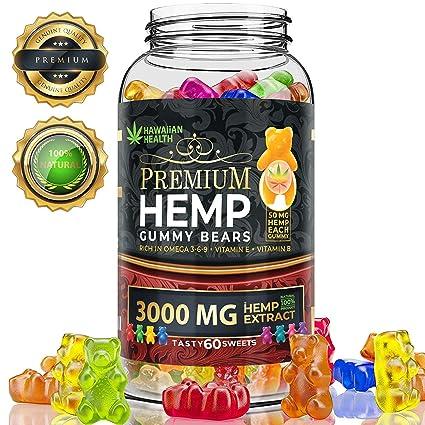 Hemp Gummies Premium 3000 Milligram High Potency - 50 Per Fruity Gummy Bear  with Organic