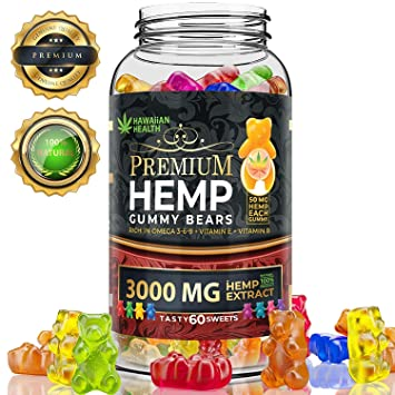 Hemp Gummies Premium 3000 Milligram High Potency - 50 Per Fruity Gummy Bear  with Organic