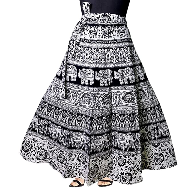 b67ae55ea4 jwf Women's Mandala Hand Block Printed Long Wrap Around Skirt  (Multicolor,Free Size): Amazon.in: Clothing & Accessories