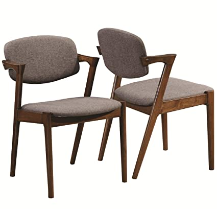 51d645599e61 Amazon.com - Malone Dining Side Chairs Grey and Dark Walnut (Set of ...