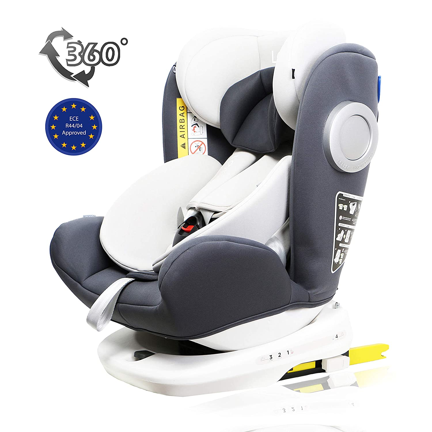 LETTAS Baby Car Seat for Child Group 0+//1//2//3 Top Tether Rotation 360/° 0-36 kg//0-12 Year ISOFIX