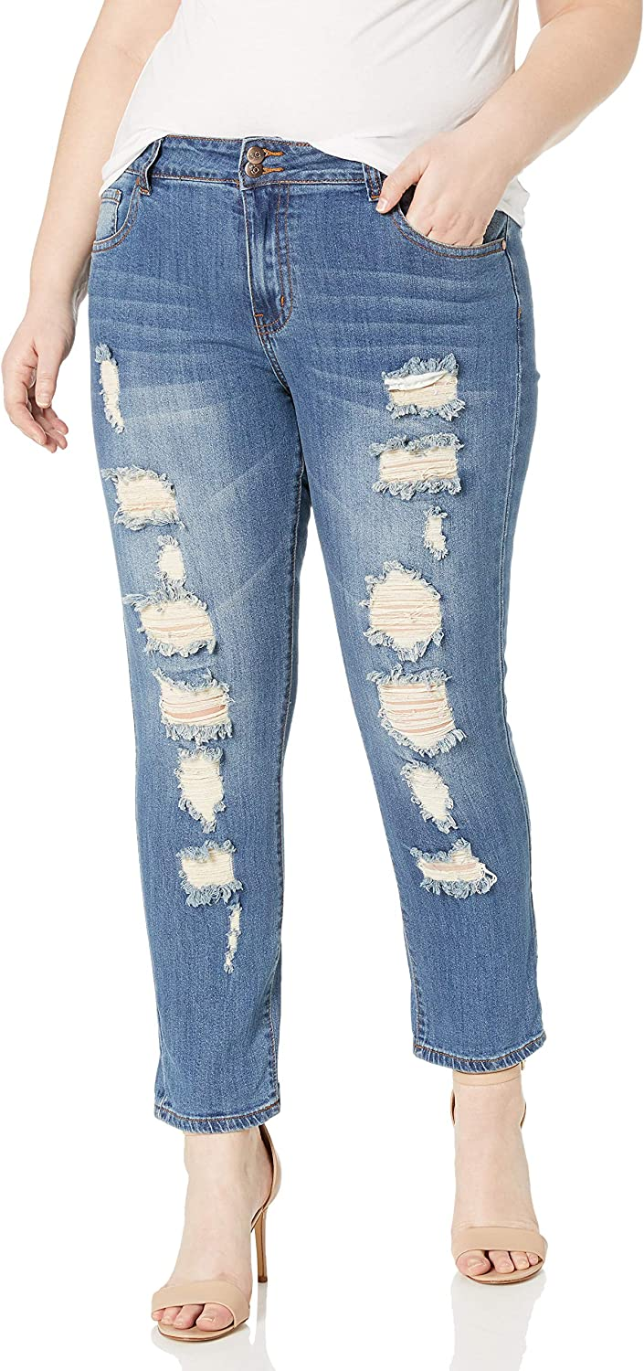Skinny Ripped Jeans for Women Distressed Blue, Baby