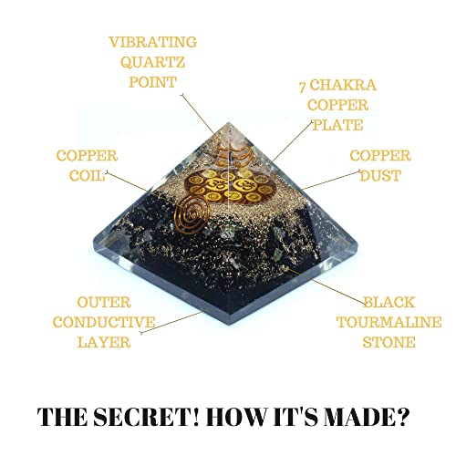 Orgone Pyramid - Black Tourmaline Crystal for Orgone Energy Generator -  Orgonite Pyramids for Emf Protection - Healing Crystal - Chakra Crystal -