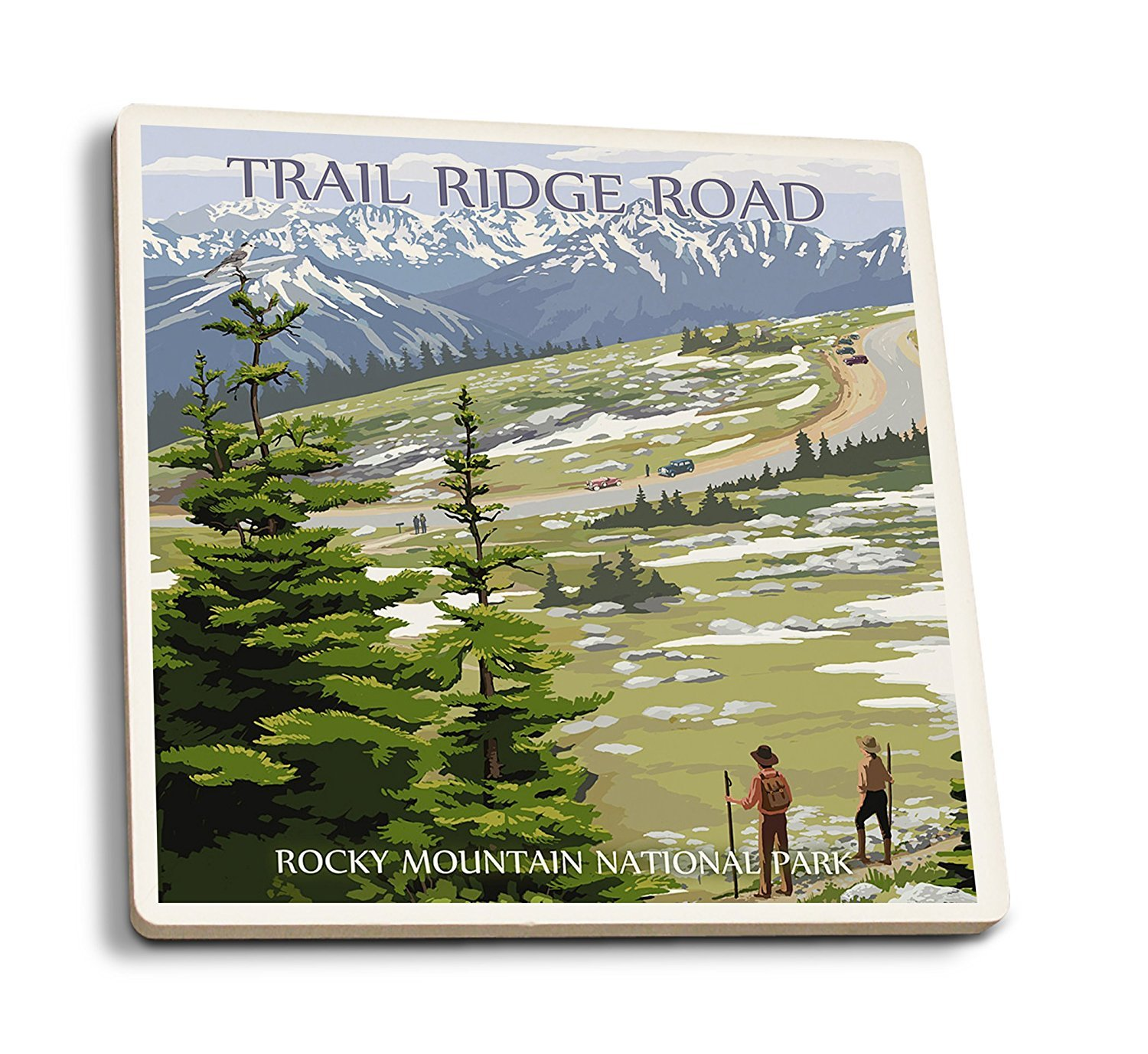 Trail Ridge Road – ロッキーマウンテン国立公園 4 Coaster Set LANT-33682-CT B01FOLUQ4E 4 Coaster Set4 Coaster Set
