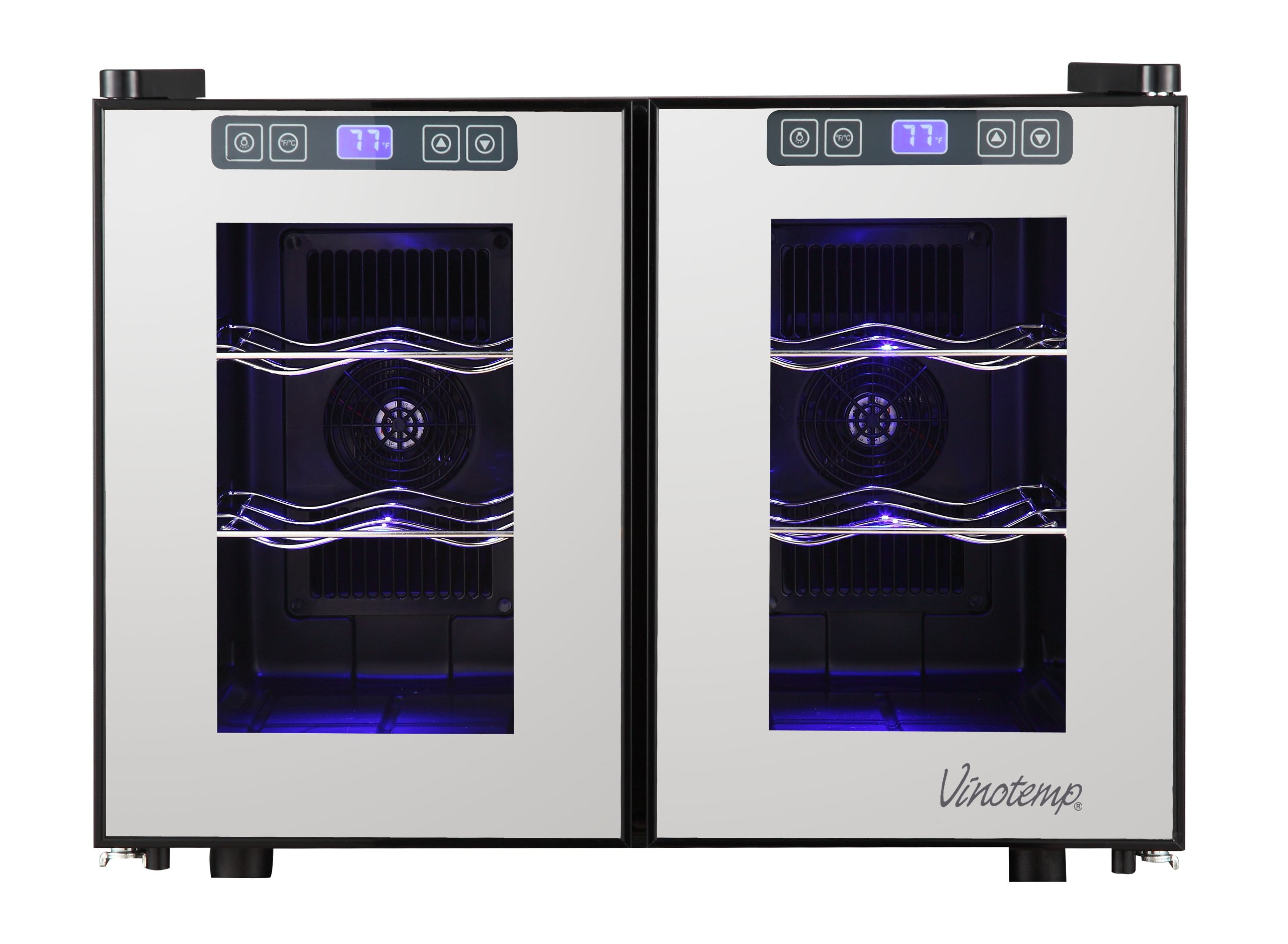 Vinotemp 12-Bottle Dual-Zone Touch Screen Thermoelectric Mirrored Wine Cooler