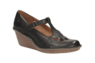 d7b7820df7e Clarks Ladies Harlan Dance Black Leather Wedge Heels Size 6.5 ...