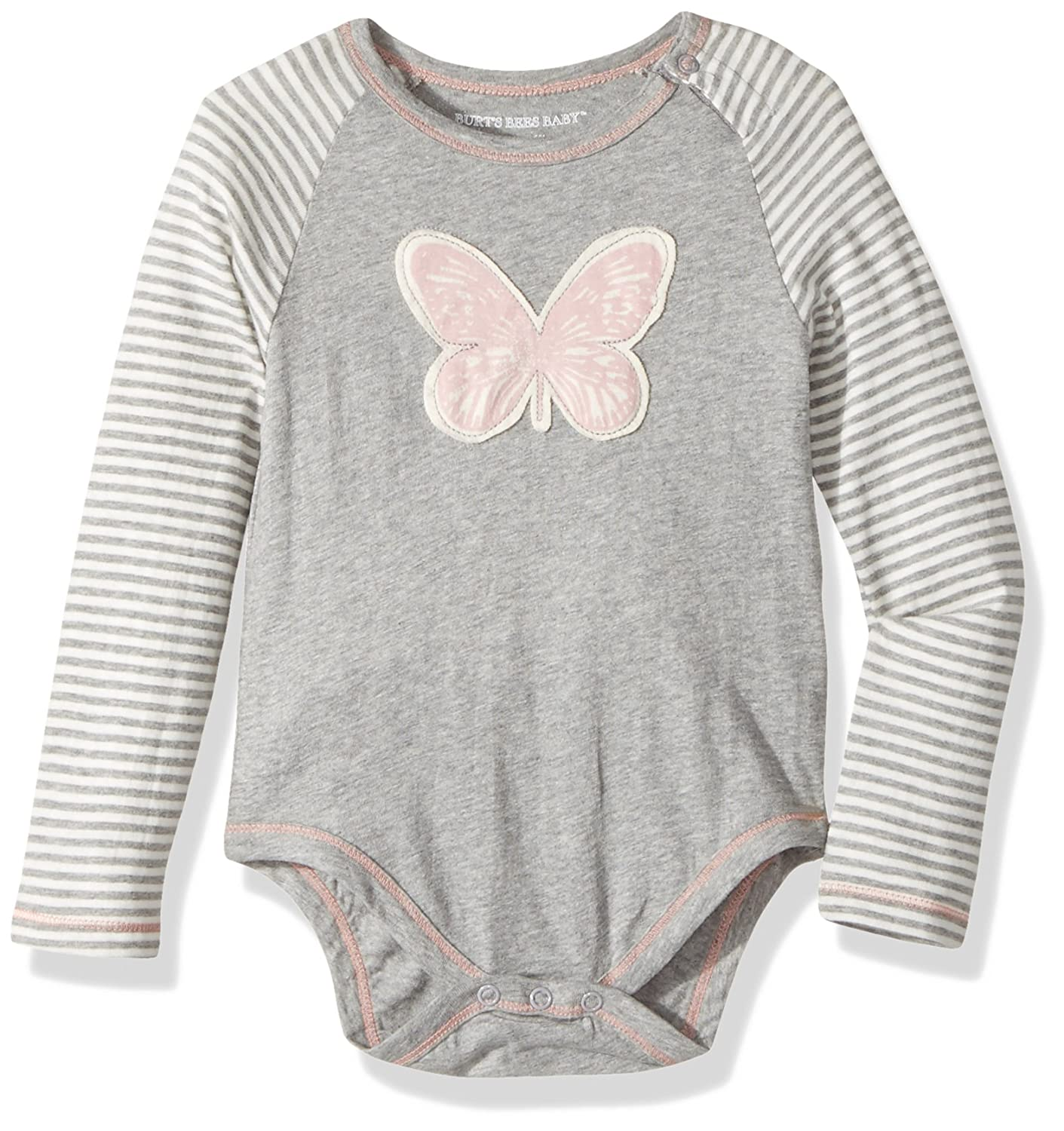 d42ec472b Amazon.com: Burt's Bees Baby Girl's Butterfly Bodysuit - Heather Grey - 24  Months: Clothing