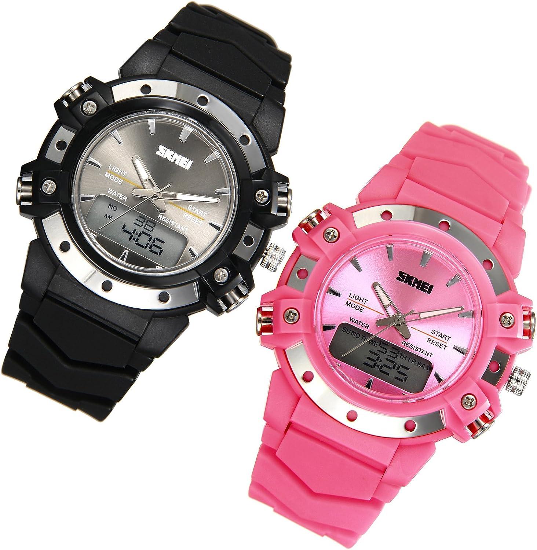 JewelryWe Relojes para Niños Niñas Analógico Reloj Deportivo Digital para Aire Libre, Reloj Infantil De Colores, 5ATM A Prueba de Agua Buen Regalo 2017