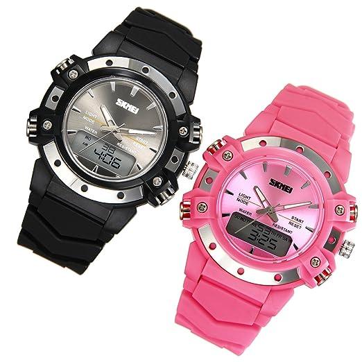 f5fadf31ff98 JewelryWe 2pcs Relojes para Niños Niñas Analógico Reloj Deportivo Digital  para Aire Libre